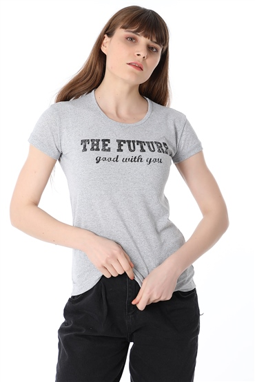 The Future Baskılı Tshirt - GRİ
