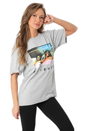 Friends Baskılı T-shirt - GRİ